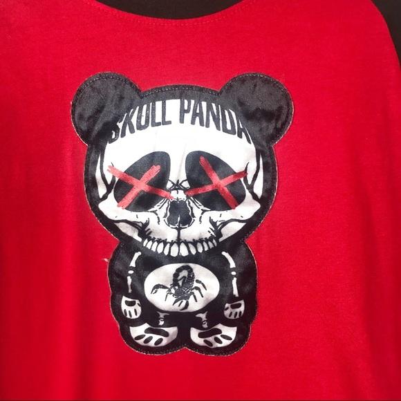 Men/'s Imperious Skull Panda T-Shirt White